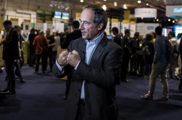 Frederic Oudea, chief executive officer of Societe Generale SA, gestures as he speaks during a Bloomberg Television interview at the Lisbon Web Summit in Lisbon, Portugal, on Tuesday, Nov. 7, 2017. Portugal is hoping to bolster its reputation as a startup hub in Europe at a time when political instability in Spain's Catalonia and the U.K.'s decision to exit the European Union are triggering growing interest in the southern European country. Photographer: Daniel Rodrigues/Bloomberg
