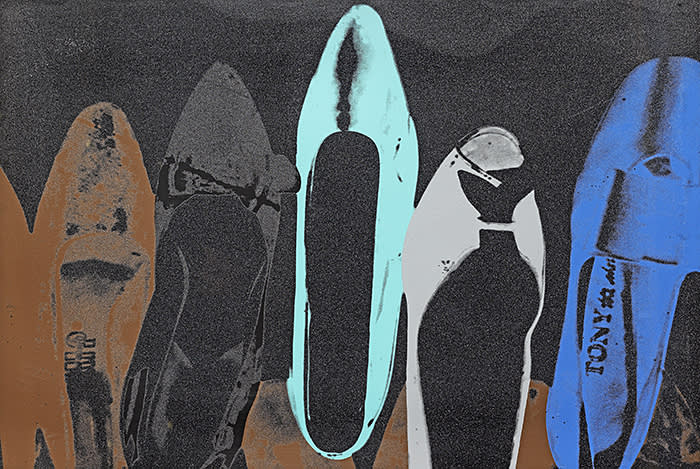 132 Andy Warhol (American, 1928-1987) Shoes Screenprint in colours with diamond dust, 1980.jpg