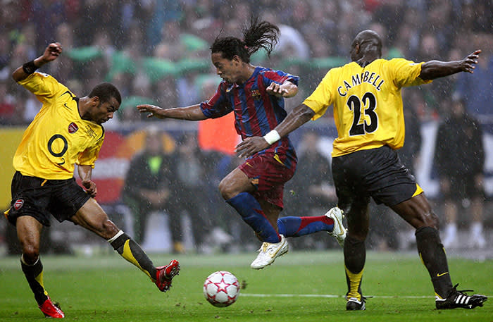 Ronaldinho during the UEFA Champions League Final between Barcelona and Arsenal in the Stade de France in St. Denis near Paris. Barcelona won 2-1. (Photo by liewig christian/Corbis via Getty Images)