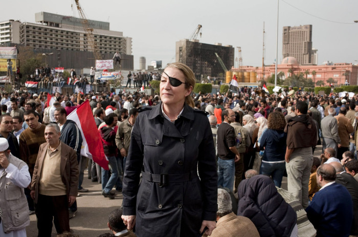 Marie Colvin in Tahrir Square during the Arab Spring uprising in Egypt, 2011