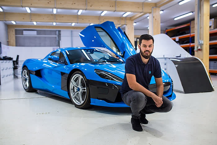 Mate Rimac with a Rimac C-Two electric sports car