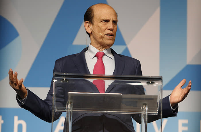 Michael Milken, chairman of the Milken Institute, speaks during the Skybridge Alternatives (SALT) conference in Las Vegas, Nevada, U.S., on Thursday, May 9, 2019. SALT brings together investors, policy experts, politicians and business leaders to network and share ideas to unlock growth opportunities in finance, economics, entrepreneurship, public policy, technology and philanthropy. Photographer: Joe Buglewicz/Bloomberg