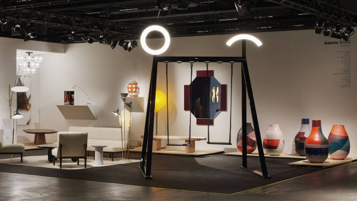 Galerie kreo at Design Miami Basel, featuring Jean Baptiste Fastrez's double swing