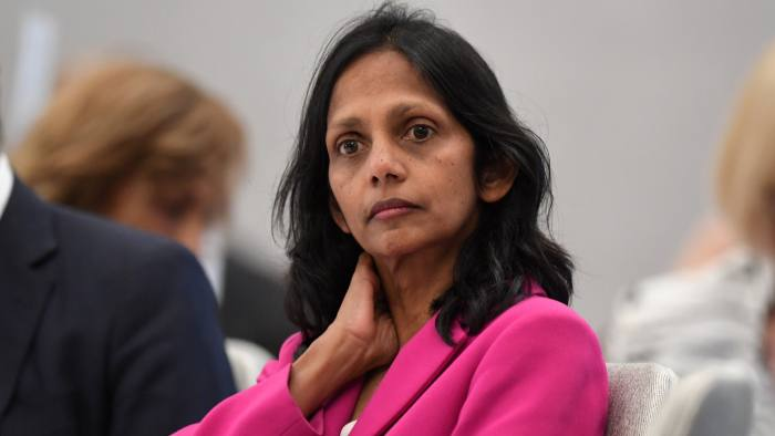 Incumbent Macquarie CEO Shemara Wikramanayake is seen ahead of a CEDA panel discussion about Australia's economic strategy in India in Sydney, Thursday, August 2, 2018. (AAP Image/Joel Carrett)