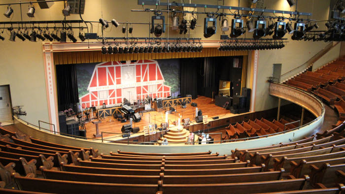 The Ryman Auditorium (formerly Grand Ole Opry House and Union Gospel Tabernacle) is a 2,362-seat live performance venue, located at 116 5th Avenue North, in Nashville, Tennessee and is best known as the most famous former home of the Grand Ole Opry. It is owned and operated by Ryman Hospitality Properties, Inc.