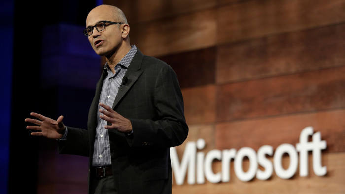 (FILES) This file photo taken on November 29, 2017 shows Microsoft CEO Satya Nadella speaking during the annual Microsoft shareholders meeting in Bellevue, Washington. Microsoft on March 29, 2018 announced a big managerial shakeup including the departure of the head of its Windows group as the technology pushes deeper into a future in the cloud. / AFP PHOTO / Jason RedmondJASON REDMOND/AFP/Getty Images