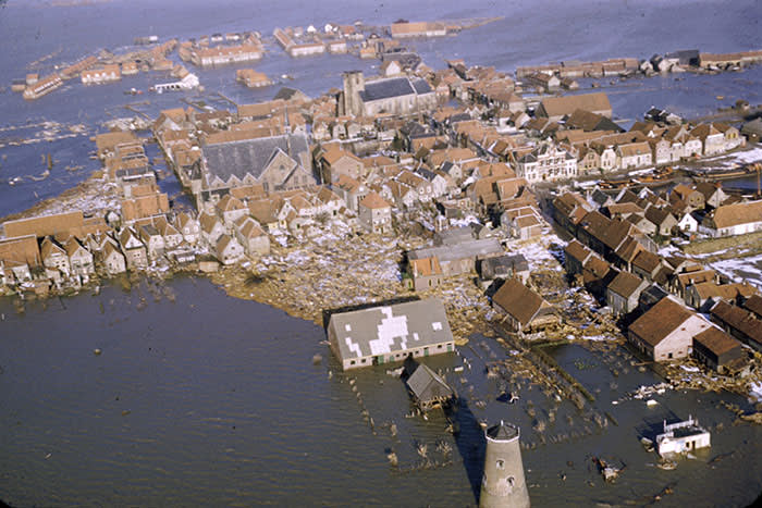 The village of Oude-Tonge after the North Sea flood of 1953 – the disaster killed 1,835 in the Netherlands. Within 18 days, the Dutch government had created the Delta Commission
