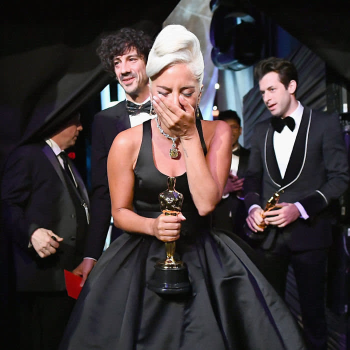 HOLLYWOOD, CA - FEBRUARY 24: In this handout provided by A.M.P.A.S., Lady Gaga poses with the Music (Original Song) award for 'Shallow' from 'A Star Is Born' backstage during the 91st Annual Academy Awards at the Dolby Theatre on February 24, 2019 in Hollywood, California. (Photo by Matt Petit - Handout/A.M.P.A.S. via Getty Images)