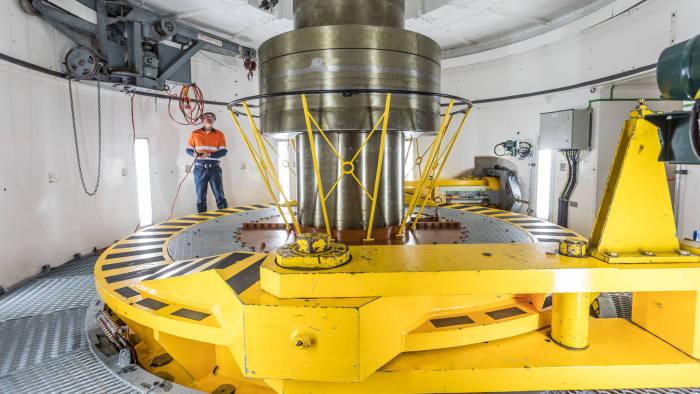 Snowy 2.0 story with Jamie Smythe. Pic shows: Tumut 3 powerplant - a turbine.