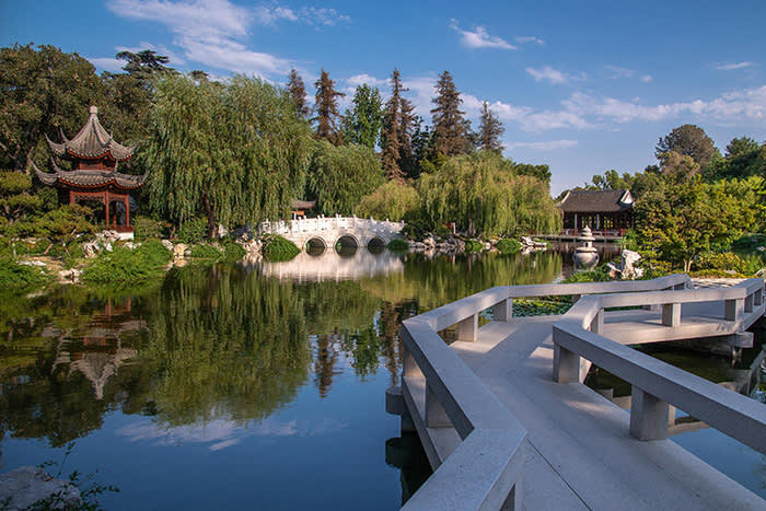 The lake at the Huntington Library, Art Collections and Botanical Gardens is a piece of China in San Marino, California