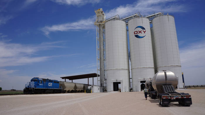 Occidental Petroleum in new mexico, image shows towers that stores sand used in fracking