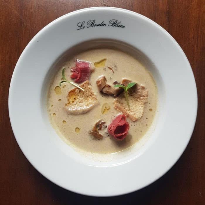 Le Boudin Blanc, London Wild Mushroom soup
