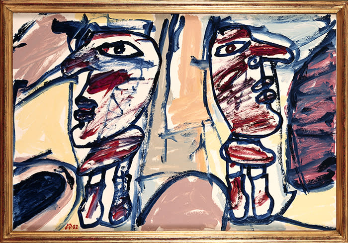 DUBUF84065  Jean Dubuffet  Site aléatoire avec deux personages  (Random Site with Two Figures) 24 June 1982 Acrylic on paper (with 2 cutout elements), mounted on canvas 67 x 100 cm / 26 3/8 x 39 3/8 in Collection Christian Ibrahimchah  © ADAGP, Paris and DACS, London 2018