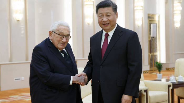 China's President Xi Jinping (R) meets former US secretary of state Henry Kissinger at the Great Hall of the People in Beijing on November 8, 2018. (Photo by THOMAS PETER / POOL / AFP)THOMAS PETER/AFP/Getty Images