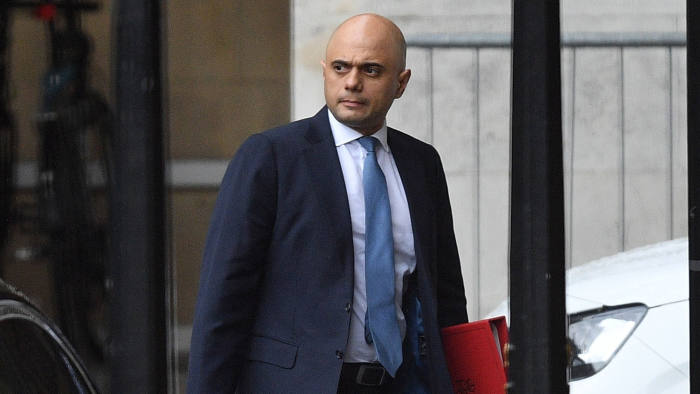 LONDON, ENGLAND - JUNE 18: Home Secretary of the United Kingdom and Conservative Party leadership candidate, Sajid Javid walks outside the House of Commons on June 18, 2019 in London, England. The Conservative leadership contest will enter the next stage later today when a second round of voting is held in Parliament. (Photo by Leon Neal/Getty Images)