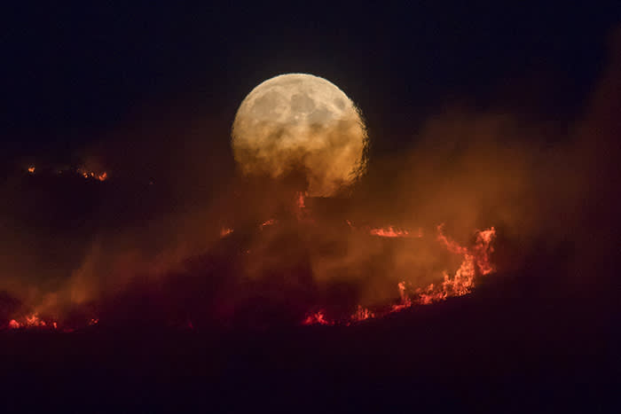 STALYBRIDGE, ENGLAND - JUNE 26: The full moon rises behind burning moorland as a large wildfire sweeps across the moors between Dovestones and Buckton Vale in Stalybridge, Greater Manchester on June 26, 2018 in Stalybridge, England. (Photo by Anthony Devlin/Getty Images)