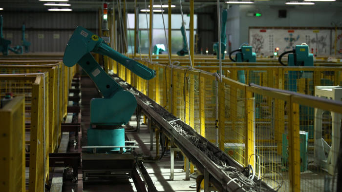 """Testing for Foxconn's industrial robots """"Foxbot"""" are performed at Foxconn factory in Longhua town, Shenzhen. 20JUL16 SCMP/Nora Tam (Photo by Nora Tam/South China Morning Post via Getty Images)"""
