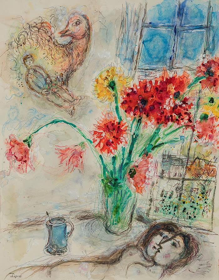 AMOUREUX AU BOUQUET DE DAHLIAS MARC CHAGALL (Liozna, 1887 - Saint Paul de Vence, 1985) Gouache, tempera, pastel, color pencil and pencil on paper 60.7 x 48 cm (23.9 x 18.9 in.) Stamped lower left 'Marc Chagall' November 1971 EXHIBITOR: HAMMER GALLERIES