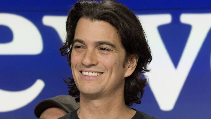 Adam Neumann, co-founder and CEO of WeWork, attends the opening bell ceremony at Nasdaq, Tuesday, Jan. 16, 2018, in New York. WeWork is a privately held shared workspace company based in New York. (AP Photo/Mark Lennihan)