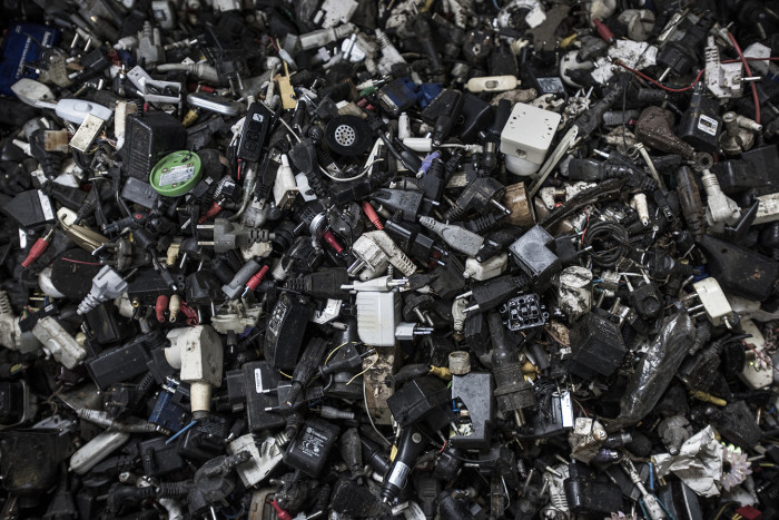 Household electronics for recycling at waste company AEB, Amsterdam