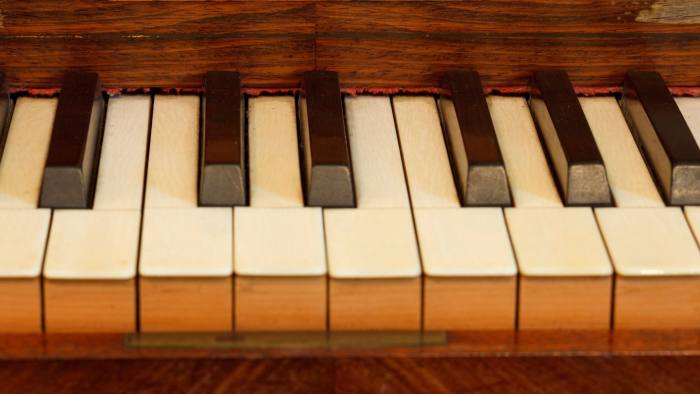 CFDEFY Keys of piano de Pleyel at cell 4 at monastery Sa Cartoixa, La Cartuja, Valldemossa, Tramuntana mountains, Mallorca, Balearic Is