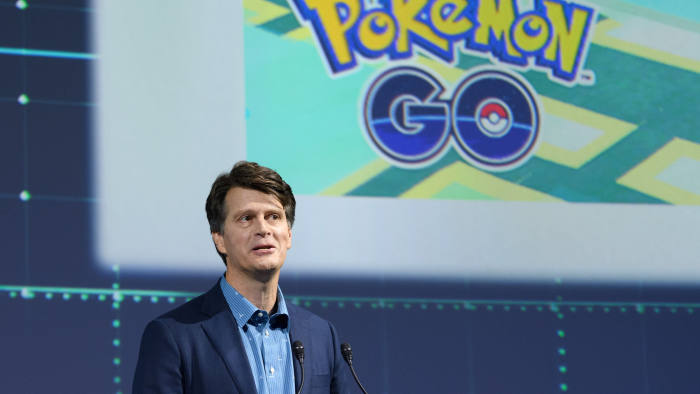 John Hanke, chief executive officer of Niantic Inc., speaks during a Pokemon Co. event in Tokyo, Japan, on Wednesday, May 29, 2019. Pokemon, partly owned by Nintendo Co., unveiled several new initiatives at an event in Tokyo, including a Detective Pikachu sequel for the Switch console and a new device for tracking sleep. Photographer: Akio Kon/Bloomberg via Getty Images