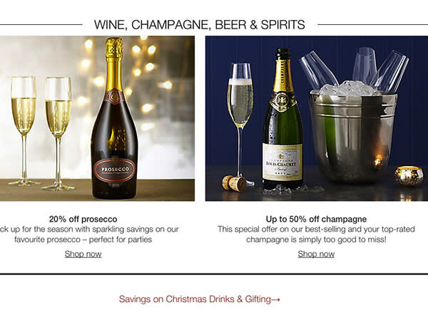 MoneyFT : Screen shot of Marks & Spencer online Christmas discounts on wine and champagne.