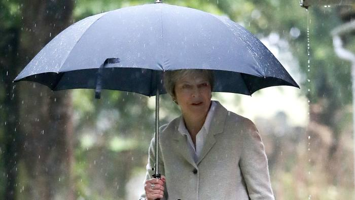 Prime Minister Theresa May leaves following a church service near her Maidenhead constituency. PRESS ASSOCIATION Photo. Picture date: Sunday September 23, 2018. Photo credit should read: Andrew Matthews/PA Wire