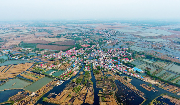 (180423) -- BEIJING, April 23, 2018 (Xinhua) -- Photo taken on April 9, 2017 shows a village in Baiyangdian lake in Anxin County, north China's Hebei Province. (Xinhua/Mu Yu)