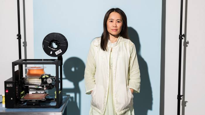 Artist Shirley Tse with her 3D printer shot for The FT at her studio in Los Angeles, California.