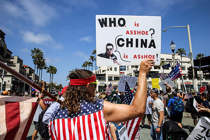 'Trump's campaign will be about China, China, China,' says Steve Bannon, his former chief strategist. A demonstrator in California echoes the administration's anti-China rhetoric