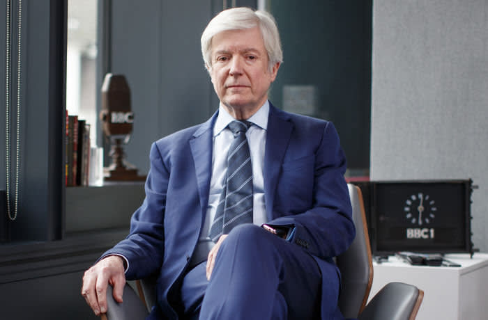 Tony Hall, BBC's Director-General is photographed at his office at BBC Broadcasting House in London on December 14, 2018.