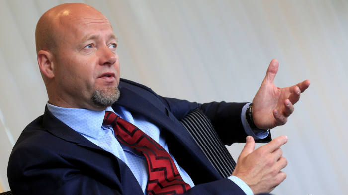 FILE PHOTO: Norwegian sovereign wealth fund (SWF) CEO Yngve Slyngstad speaks during an interview in Oslo, Norway, June 2, 2017. REUTERS/Ints Kalnins/File Photo