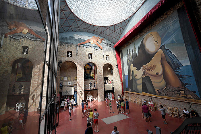 Tourists visit the tomb of Salvador Dali at the Teatre-Museu Dali (Theatre-Museum Dali) following the exhumation of Salvador Dali's remains in Figueras on July 21, 2017.