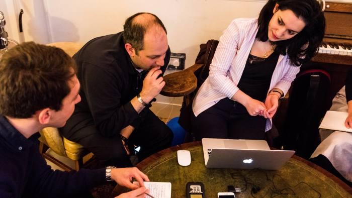 Jonathan Freeman, centre, and Nastaran Tavakoli-Far, right, of 'The Gender Knot'