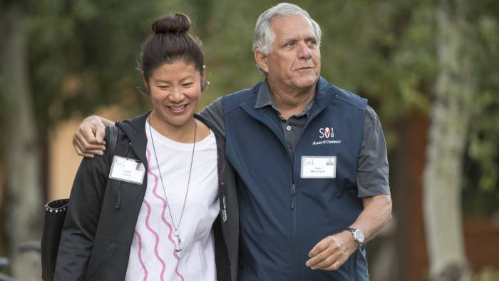 Leslie Moonves, president and chief executive officer of CBS Corp., and Julie Chen arrive for a morning session of the Allen & Co. Media and Technology Conference in Sun Valley, Idaho, U.S., on Wednesday, July 11, 2018. The 35th annual Allen & Co. conference gathers many of America's wealthiest and most powerful people in media, technology, and sports. Photographer: David Paul Morris/Bloomberg