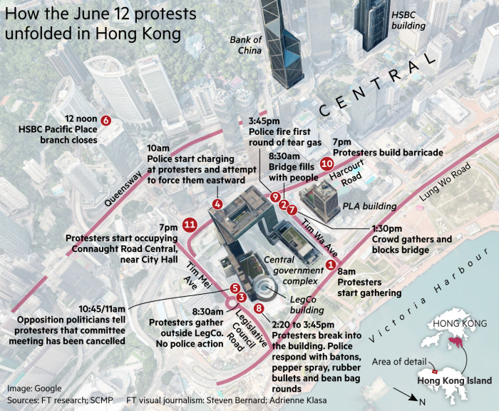 Map showing how the June 12 protests unfolded in Hong Kong