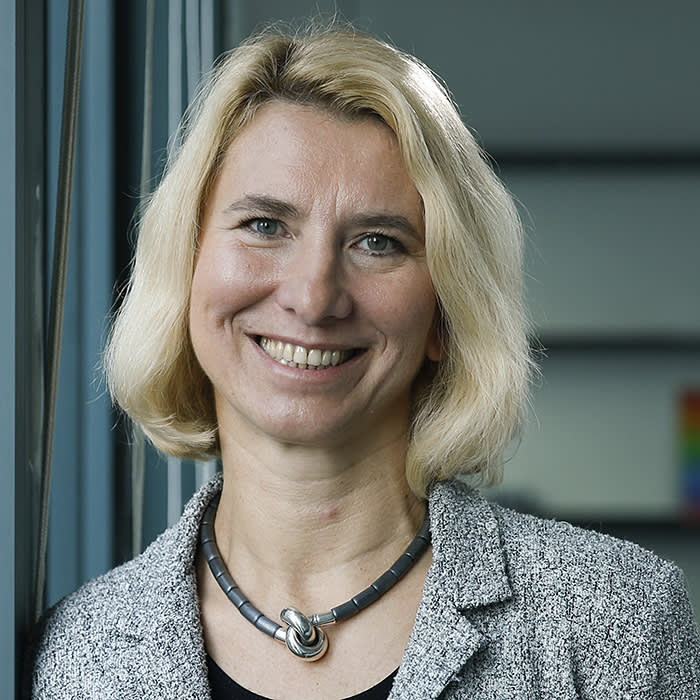 Beata Javorcik, chief economist of the European Bank for Reconstruction and Development, poses for photograph following an interview at the bank's offices in London, U.K., on Wednesday, Nov. 6, 2019. After three decades of unprecedented advances in incomes and living standards, the European Unions eastern economies that abruptly swapped communism for capitalism after the Berlin Wall fell are facing new challenges. Photographer: Hollie Adams/Bloomberg via Getty Images