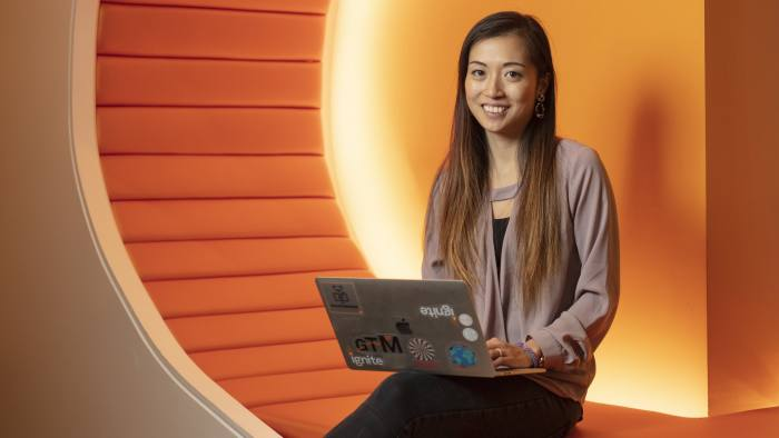 Product specialist Ellein Cheng photographed for the Financial Times in the App Nexus-( soon to be ATT ) offices in New York