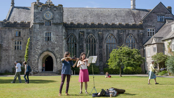 Dartington Hall Festival - People playing in the courtyard