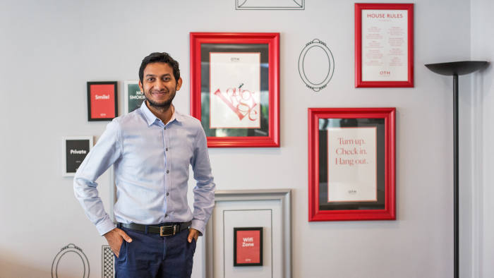 Ritesh Agarwal, 24, founder and CEO of OYO Rooms, a tech-driven Indian hotel company, poses for a portait at one of OYO's locations in Mumbai, India on October 5, 2018. Sara Hylton for the Financial Times