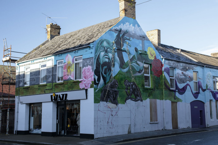 The mural that Mark Ervine and Paul Doran are working on in Newtownards