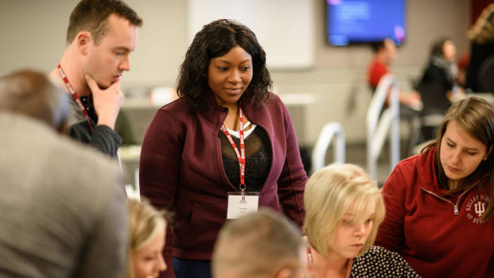 Kelley Connect Week offers an intensive seven-day introduction to the Kelley Direct Program, held in person at Indiana University. Students work with a team over the course of the week on a case competition. Students met with their teams on May 13, 2019