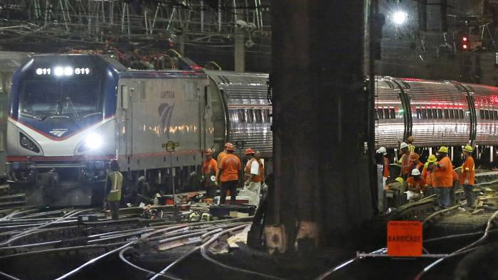Amtrak workers continue ongoing infrastructure renewal work beneath Penn Station, Sunday, July 9, 2017, in New York. (AP Photo/Kathy Willens)