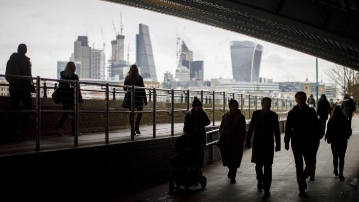 City workers go under Blackfriars Bridge in London as they commute on 14 February 2018. London Skyline