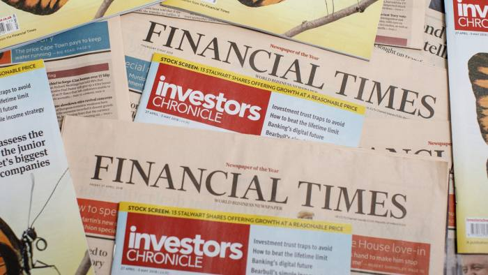 Copies of The Financial Times and Investors Chronicle are photographed on May 3, 2018.