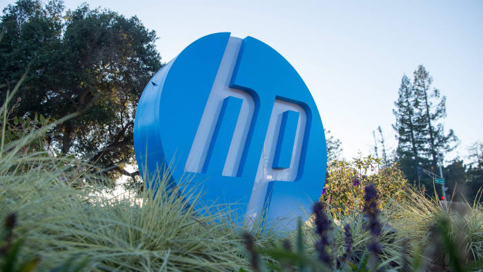 (FILES) In this file photo taken on November 4, 2016 the HP logo is seen on a sign at Hewlett Packard's headquarters in Palo Alto, California. - Xerox said February 10, 2020 it was raising its offer for computer and printer maker HP to some $36 billion as part of an effort to win over shareholders amid a heightened battle for control of the Silicon Valley firm. The new offer from the imaging and copying giant is around 10 percent higher than the bid launched last year and rejected by the HP board of directors. (Photo by JOSH EDELSON / AFP) (Photo by JOSH EDELSON/AFP via Getty Images)