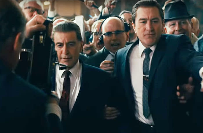 2A1ME5K USA. 27th Sep, 2019. USA. Robert De Niro and Al Pacino in the © Netflix new movie: The Irishman (2019). Plot: A mob hitman recalls his possible involvement with the slaying of Jimmy Hoffa. Ref: LMK110-J5506-270919 Supplied by LMKMEDIA. Editorial Only. Landmark Media is not the copyright owner of these Film or TV stills but provides a service only for recognised Media outlets. pictures@lmkmedia.com Credit: LMK MEDIA LTD/Alamy Live News