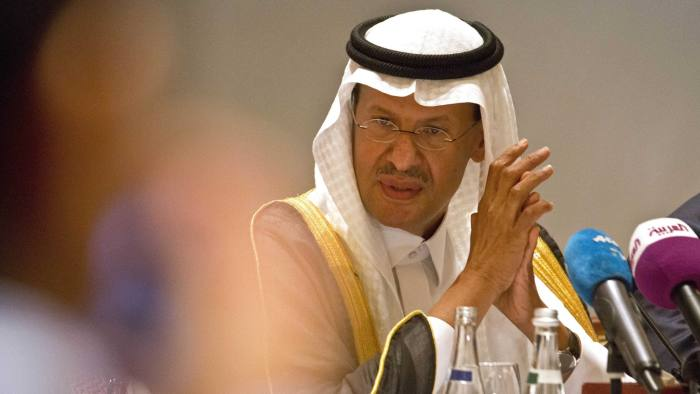 """Saudi Energy Minister Prince Abdulaziz bin Salman attends a news conference that followed an OPEC meeting in Abu Dhabi, United Arab Emirates, Thursday, Sept. 12, 2019. OPEC's Joint Ministerial Monitoring Committee met Thursday in Abu Dhabi as estimates of lowered crude oil demand in 2020 have the cartel considering additional production cuts. Before the meeting started, Prince Abdulaziz again called for """"cohesiveness"""" in OPEC. (AP Photo/Jon Gambrell)"""
