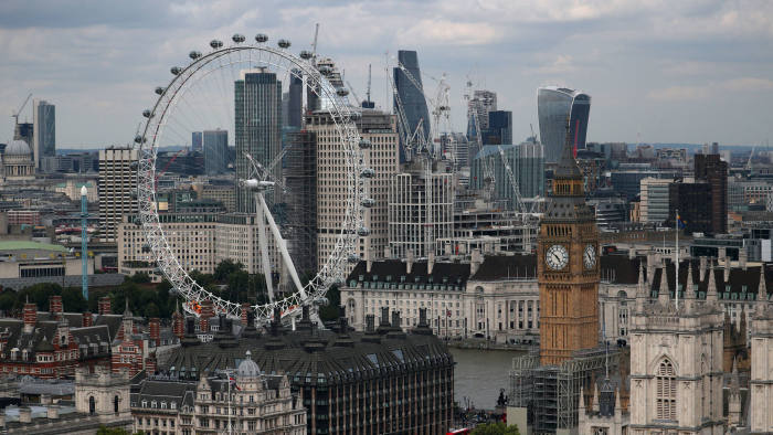 FILE PHOTO - The London Eye, the Big Ben clock tower and the City of London financial district are seen from the Broadway development site in central London, Britain, August 23, 2017. REUTERS/Hannah McKay/File Photo